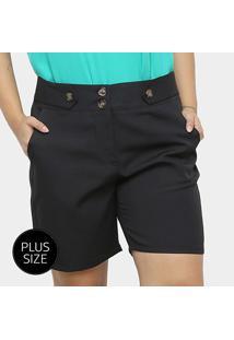 Shorts City Lady Alfaiataria Botões Plus Size Feminino - Feminino-Preto