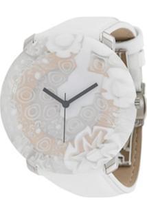 Yunik Relógio 44Mm Floral Grande - Branco