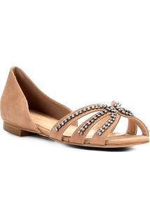 Sapatilha Couro Shoestock Aberta Strass Feminina - Feminino-Nude