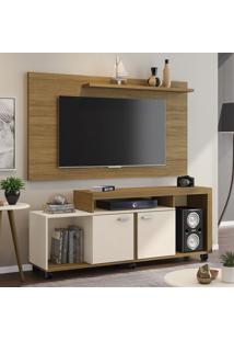 Rack Com Painel Para Tv Até 50 Polegadas Bahamas Cinamomo/Off-White - Móveis Bechara