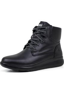 Bota Térmica Fiero Urban City Hike Em Couro E Forro Thermal Warm Protection Preto