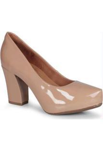 Sapato Feno Salto Grosso Meia Pata Nude Nude