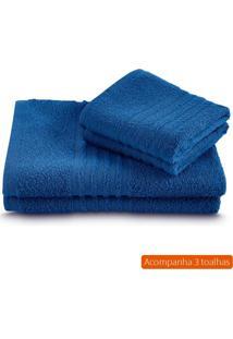 Kit Com 3 Toalhas De Banho Unique Azul