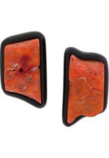 Monies Par De Brincos Retangulares - Laranja