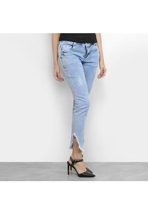 Calça Jeans Morena Rosa Cigarrete Fenda Desfiada Feminina - Feminino-Azul