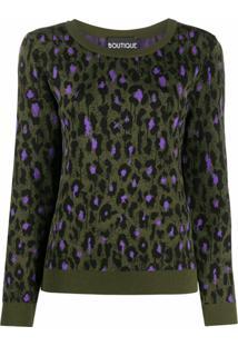 Boutique Moschino Blusa De Tricô Com Estampa De Leopardo - Verde