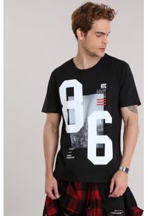 "Camiseta ""Nyc Brx"" Preta"