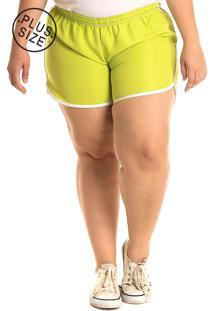 Short Tactel Konciny Plus Size Verde Limão