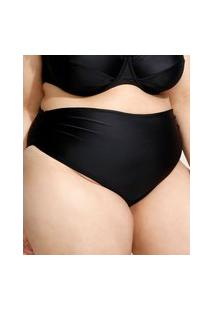 Biquíni Calcinha Plus Size Hot Pant Com Franzido E Proteção Uv50+ Preto