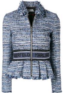 Karl Lagerfeld Jaqueta Tweed Com Peplum - Azul