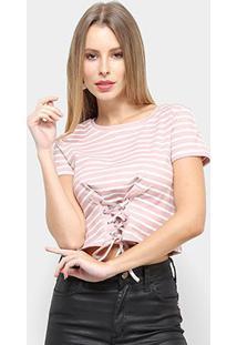 Blusa Adooro Listrada Tiras Feminina - Feminino-Rosa+Branco