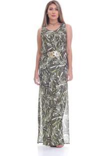 d39fccb38 ... Vestido Clara Arruda Longo Cinto Estampado Feminino - Feminino-Verde  Claro