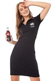 Vestido Polo Coca-Cola Jeans Curto Canelado Preto