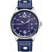 42db94c0b43 Relógio Curren Analógico 8224 Prata E Azul - Masculino