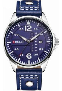 87e10cc9c08 ... Relógio Curren Analógico 8224 Prata E Azul - Masculino