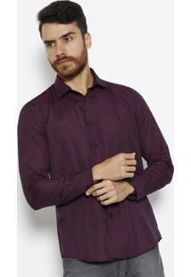 Camisa Slim Com Bordado- Azul Marinho & Vermelhaaleatory