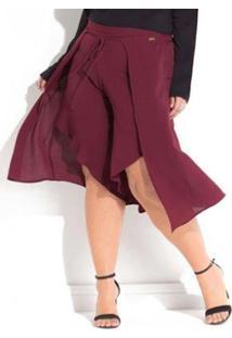 Calça Beline Plus Size Pantalona Pareô Quintess - Feminino-Bordô