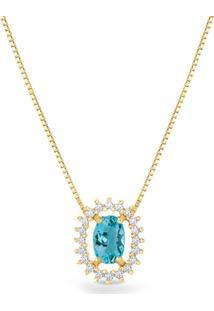 Pingente Ouro Amarelo Apatita E Diamantes 11 Mm