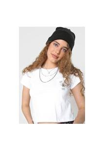 Camiseta Cropped Forever 21 Let It Bee Branca