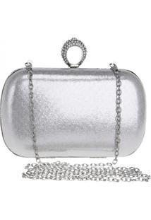 Bolsa Clutch Liage Alça Removível Tecido Metalizado Metal Strass Cristal Pedra Prata - Tricae
