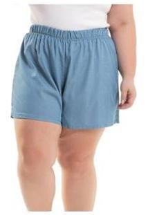 Short Denim Miss Masy Plus Size - Feminino-Azul
