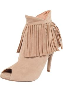 Ankle Boot Dafiti Shoes Franjas Bege