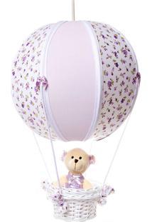 Lustre Balão Bolinha Ursa Quarto Bebê Infantil Menina Potinho De Mel Lilás