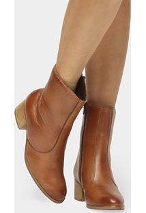 Bota Couro Cano Médio Shoestock Salto Bloco - Feminino-Caramelo