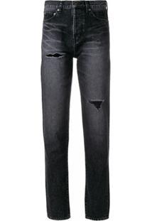 Saint Laurent Calça Cenoura Jeans Com Efeito Desfiado - Preto
