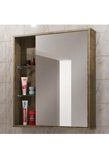 Armário De Banheiro Aéreo 1 Porta Com Espelho Miami 2075182 Madeira Rústica - Bechara Móveis