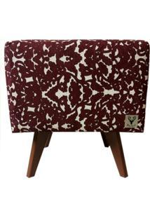 Puff Pã© Palito Quadrado Alce Couch Olenka Floral Bordã´ 40Cm - Bordã´ - Dafiti