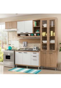 Cozinha Compacta Sem Tampo 5 Peças 5816-S9 Sicília - Multimóveis - Argila Acetinado / Branco Acetinado