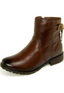 Bota Ankle Boot Dhatz Com Fecho Éclair E Fivela Pinhão