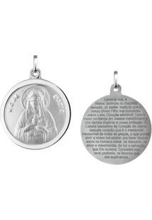 Pingente Sagrado Coração De Maria Redondo Em Prata 925 - Unissex-Prata