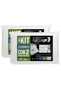 Kit 2 Pã§S Travesseiro Nasa Up 3 BrancoâFibrasca Para Fronhas 50X70Cm - Branco - Dafiti