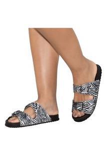 Rasteirinha Feminina Amorelle Slide Birken Tamanco Zebra