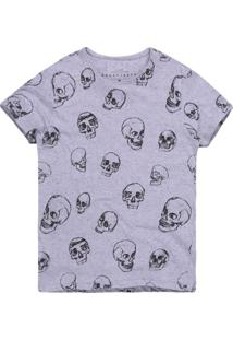 Camiseta Masculina Botonê Caveiras Preto E Branco