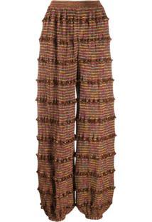 Missoni Calça Pantalona Com Babados - Marrom