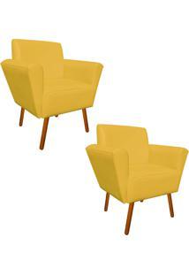 Kit 02 Poltrona Decorativa Dora Corino Amarelo - D'Rossi - Amarelo - Dafiti