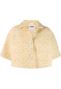 Jil Sander Knitted Patterned Cropped Jacket - Amarelo