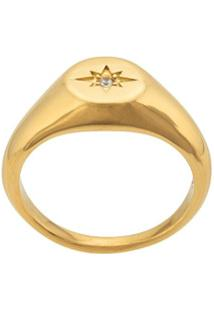 Nialaya Jewelry Engraved Star Ring - Dourado