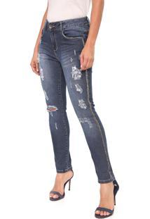 Calça Jeans Indigo Jeans Slim Destroyed Azul