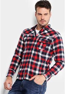 Camisa Xadrez Gangster Flanelada Bolsos Lapela Masculina - Masculino