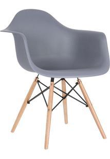 Cadeira Charles Eames Eiffel Com Braços - Daw - Base De Madeira Clara - Cinza Escuro