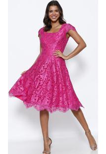 Vestido Em Renda Com Recorte- Pink & Bege- Nectarinanectarina