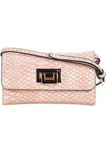 Bolsa Wj Mini Bag Crossbody Croco Feminina - Feminino-Rosa Claro
