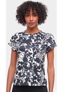 Blusa Carmim Estampada Feminina - Feminino-Preto+Branco