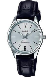 Relógio Casio Analógico Ltp V005L 7Bu Feminino - Feminino-Prata+Preto
