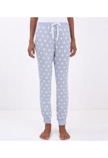 Calça De Pijama Estampa Poá