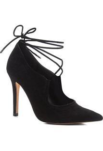 Scarpin Shoestock Salto Alto Nobuck Lace - Feminino-Preto